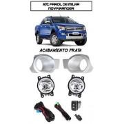 Kit Farol Milha Ranger 2012/2013/2014 Moldura Acabamento Prata