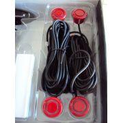 Sensor Estacionamento Ré Vermelho 4 Sensores Display Led Sinal Sonoro