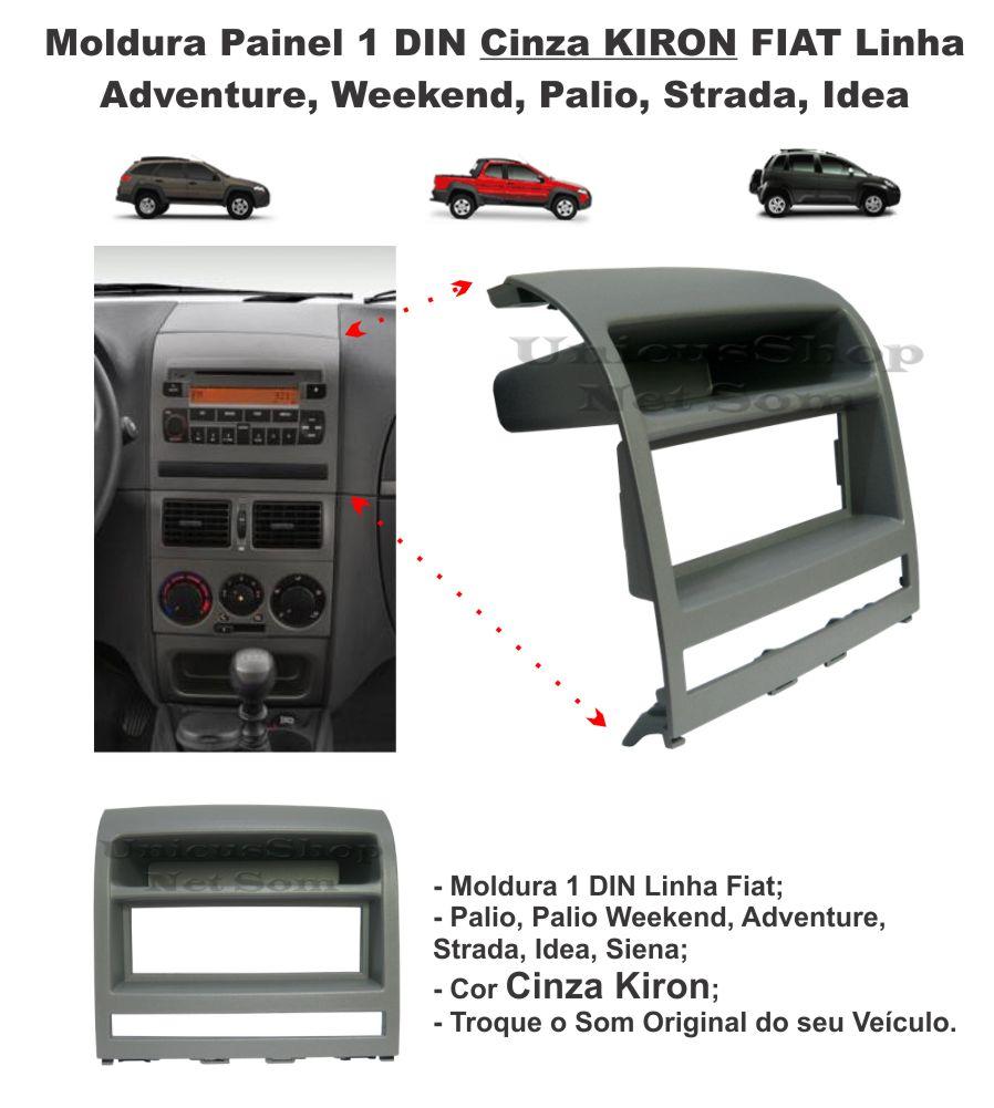 Moldura Painel 1din Cinza Kiron Fiat Palio Siena Idea Strada AP527 - SONNIC SOUND