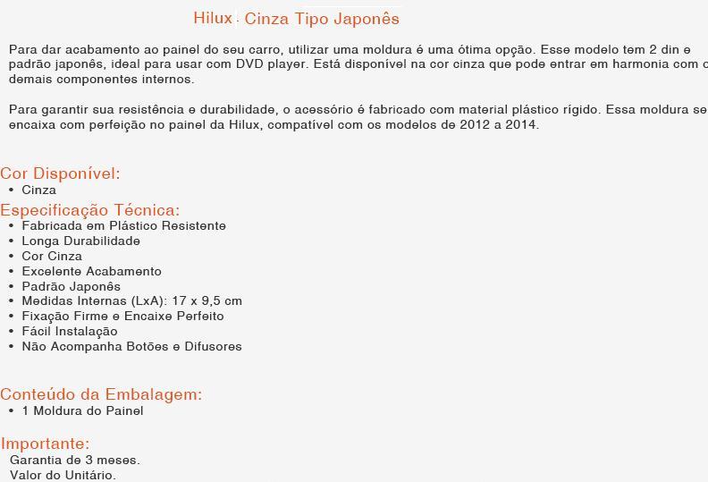 Moldura Painel DVD 2 Din Hilux/SW 2012/2013/2014/2015 - SONNIC SOUND