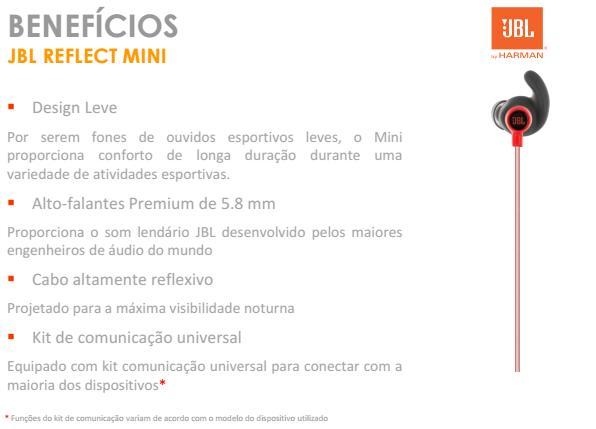 Fone De Ouvido JBL Reflect Mini In Ear Sport Vermelho - SONNIC SOUND