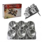 Porta Temperos E Condimentos Em Aço Inox Com Imã 6 Potes Art House BS120-XC259
