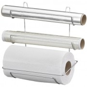Suporte Triplo Porta Rolo De Papel Toalha Papel Alumínio E Filme Plástico Cromado Passerini 1284-5