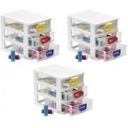 Kit 3 Gaveteiros Plástico Organizador Com 3 Gavetas Porta Tudo Micro Monte Líbano MC1220 Branco