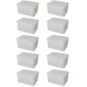 Kit 10 Caixas Organizadoras Plásticas Cestos Rattan Brancas 7 Litros Monte Líbano CR1825