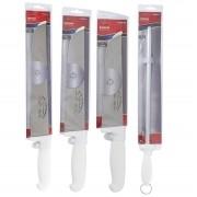 Kit 3 Facas Açougueiro Para Carne 8 10 e 12 Polegadas E Chaira 12 Polegadas Cabo Branco Em Inox Corneta CORF81012C12