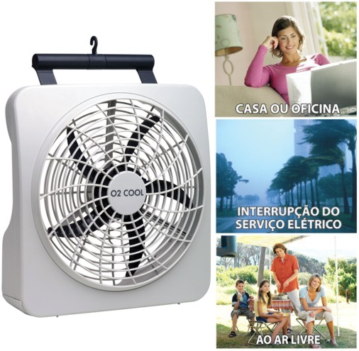 Ventilador Ventila Port�til O2 Cool 30cm Funciona com Pilhas ou Fonte Bivolt 127V 220V 2284 Branco