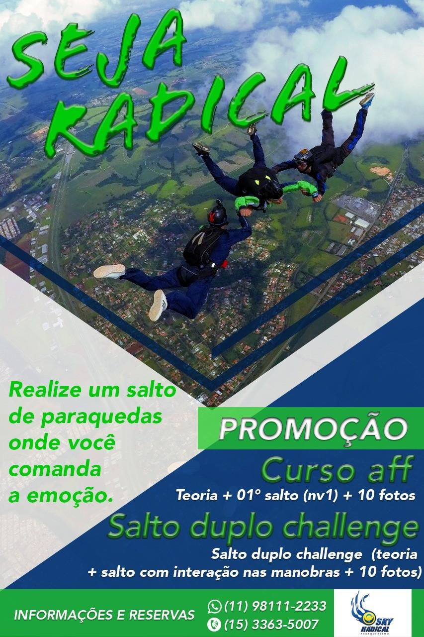 PROMOÇÃO SEJA RADICAL (TAXA DE INSCRIÇÃO)  - SkyRadical Paraquedismo