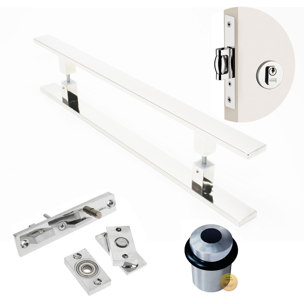Kit Completo para Porta Pivotante - Puxador 1Metro Reto - CLEAN