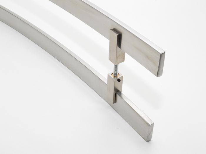 Puxador Para Portas Duplo AÇO INOX ESCOVADO (SAMURAI). Para portas Pivotante /Madeira /Vidro/Alumínio .  - Loja do Puxador