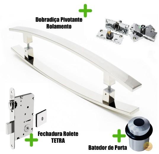 Kit Completo para Porta Pivotante - Puxador 1Metro Curvo - LUGUI