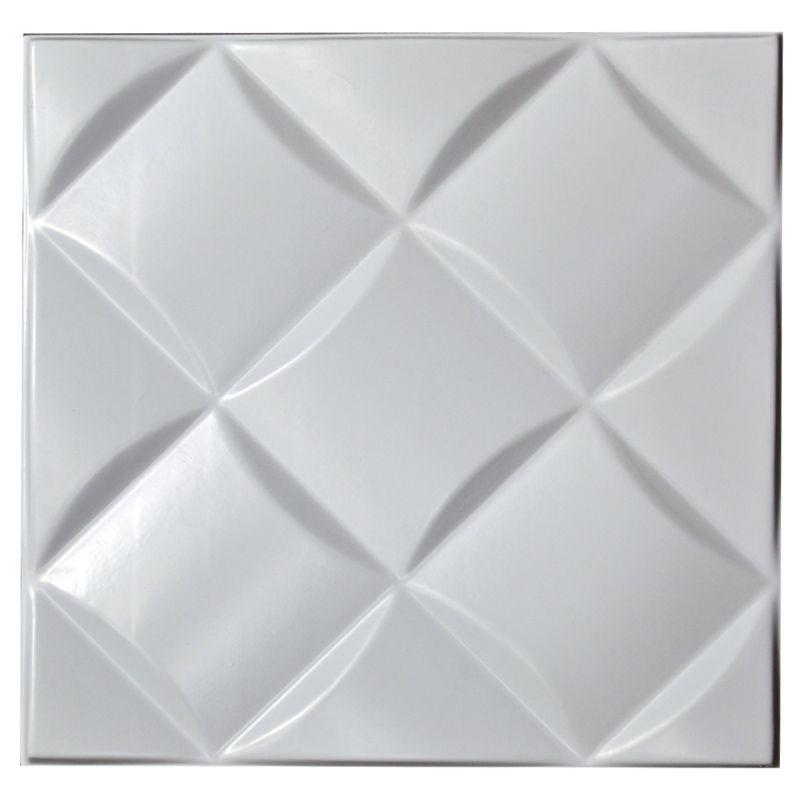 REVESTIMENTO PAREDE 3D PAINEL ALTO RELEVO PLÁSTICO PSAI ALTO IMPACTO 50X 50 MODELO CAPTONE BRANCO valor por placa.