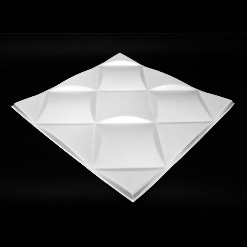 REVESTIMENTO PAREDE 3D PAINEL ALTO RELEVO PLÁSTICO PSAI ALTO IMPACTO 50X 50 MODELO CAPTONE BRANCO valor por placa.  - Loja do Puxador