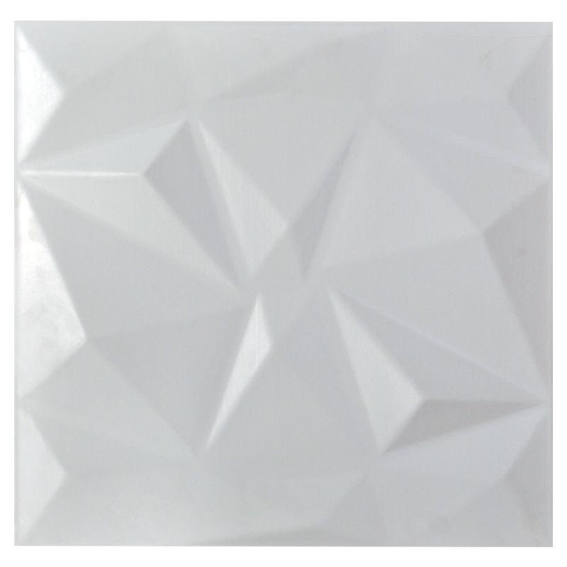 REVESTIMENTO PAREDE 3D PAINEL ALTO RELEVO PLÁSTICO PSAI ALTO IMPACTO 50X 50 MODELO TRIANGULATO BRANCO valor por placa.