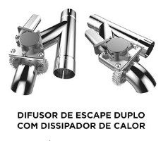 DIFUSOR DE ESCAPE DUPLO COM DISSIPADOR DE CALOR