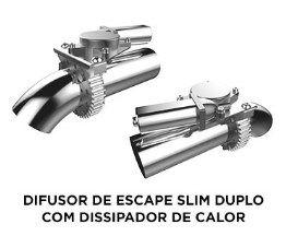 DIFUSOR DE ESCAPE SLIM DUPLO COM DISSIPADOR DE CALOR
