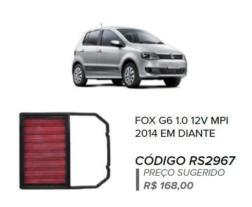 FILTRO DE AR ESPORTIVO IN BOX GOL G7 MPI + BRINDE