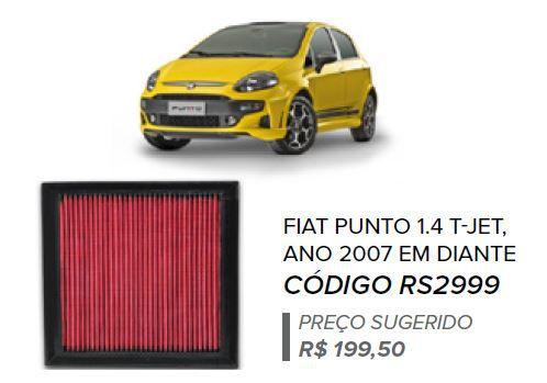 FILTRO DE AR ESPORTIVO IN BOX PUNTO/ LINEA + BRINDE