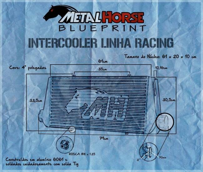 "Intercooler Racing 3"" Grande - CORE 4"" Maior Volume"
