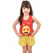 Baby Doll Short Camiseta Infantil Menina Verão Malha Emoji Emoticons 360