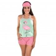 Baby Doll Short Doll Alça Feminino Adulto C/ Tapa Olho Flamingo Ref: 296