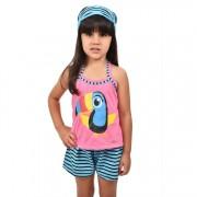 Baby Doll Short Doll Camiseta Alça Infantil Menina C/ Tapa Olho Tucano Ref: 318