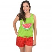 Baby Doll Short Doll Camiseta Regata Melancia Adulto Ref: 320