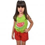 Baby Doll Short Doll Camiseta Regata Melancia Infantil Ref: 321
