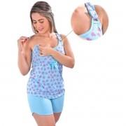 Baby Doll Short Doll Estampado Amamentação Gestante Lactante Malha Ref: 1007
