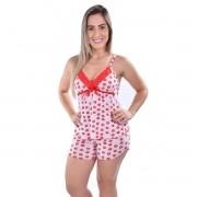 Baby Doll Short Doll Liganete Decote Fita Estampado Feminino Adulto Ref: 2001