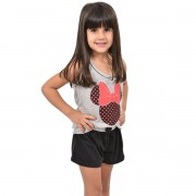 Baby Doll Short Doll Regata Minnie Infantil Feminino Menina Mãe e Filha 397