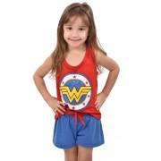 Baby Doll Short Doll Regata Mulher Maravilha Wonder Woman Feminino Infantil 329