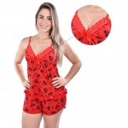 Kit 2 Baby Doll Estampas Sortidas Short Doll Decote Fita Alça Malha Feminino Adulto Ref: 1001