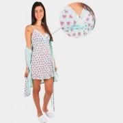 Kit Conjunto Robe Manga Curta Com Camisola Alça Malha Ref: 3006