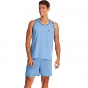 Pijama Curto Camiseta Regata Short Estampado Masculino Adulto Ref: 1258