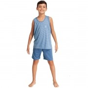 Pijama Curto Camiseta Regata Short Estampado Masculino Infantil Ref: 1435