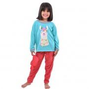 Pijama Longo Calça C/ Tapa Olho Feminino Infantil Estampa Desenho Lhama Ref: 311