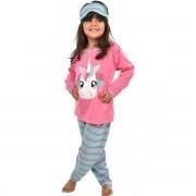 Pijama Longo Calça C/ Tapa Olho Feminino Infantil Estampa Desenho Unicórnio Ref: 311