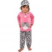Pijama Longo Calça C/ Tapa Olho Feminino Infantil Menina Estampa Gato Ref: 311