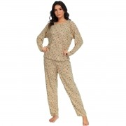 Pijama Longo Manga Comprida Calça Liganete Estampado Adulto Feminino Ref: 1178