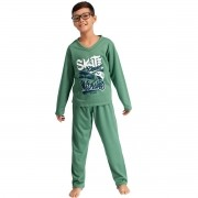 Pijama Longo Manga Longa Calça Flanelado Moletinho Masculino Infantil Ref: 1289
