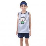 Pijama Masculino Infantil Regata Short Tapa Olho Cebolinha Turma da Mônica 434