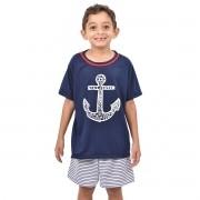 Pijama Meia Manga Short Âncora Marinheiro Navy Masculino Infantil 391