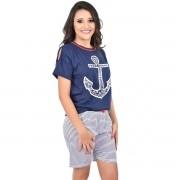 Pijama Meia Manga Short Bermuda Âncora Marinheiro Navy Feminino Adulto 392