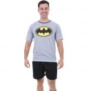 Pijama Meia Manga Short Masculino Adulto Herói Batman Liga da Justiça Ref 347