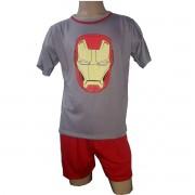 Pijama Meia Manga Short Masculino Adulto Herói Vingadores Homem de Ferro Ref 347