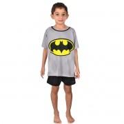 Pijama Meia Manga Short Masculino Infantil Menino Liga da Justiça Batman Ref 348