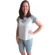 Pijama Pescador Corsário Listrado Adulto Feminino 305