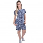 Pijama Pescador Manga Curta Bermuda Liganete Adulto Estampado Ref: 7002