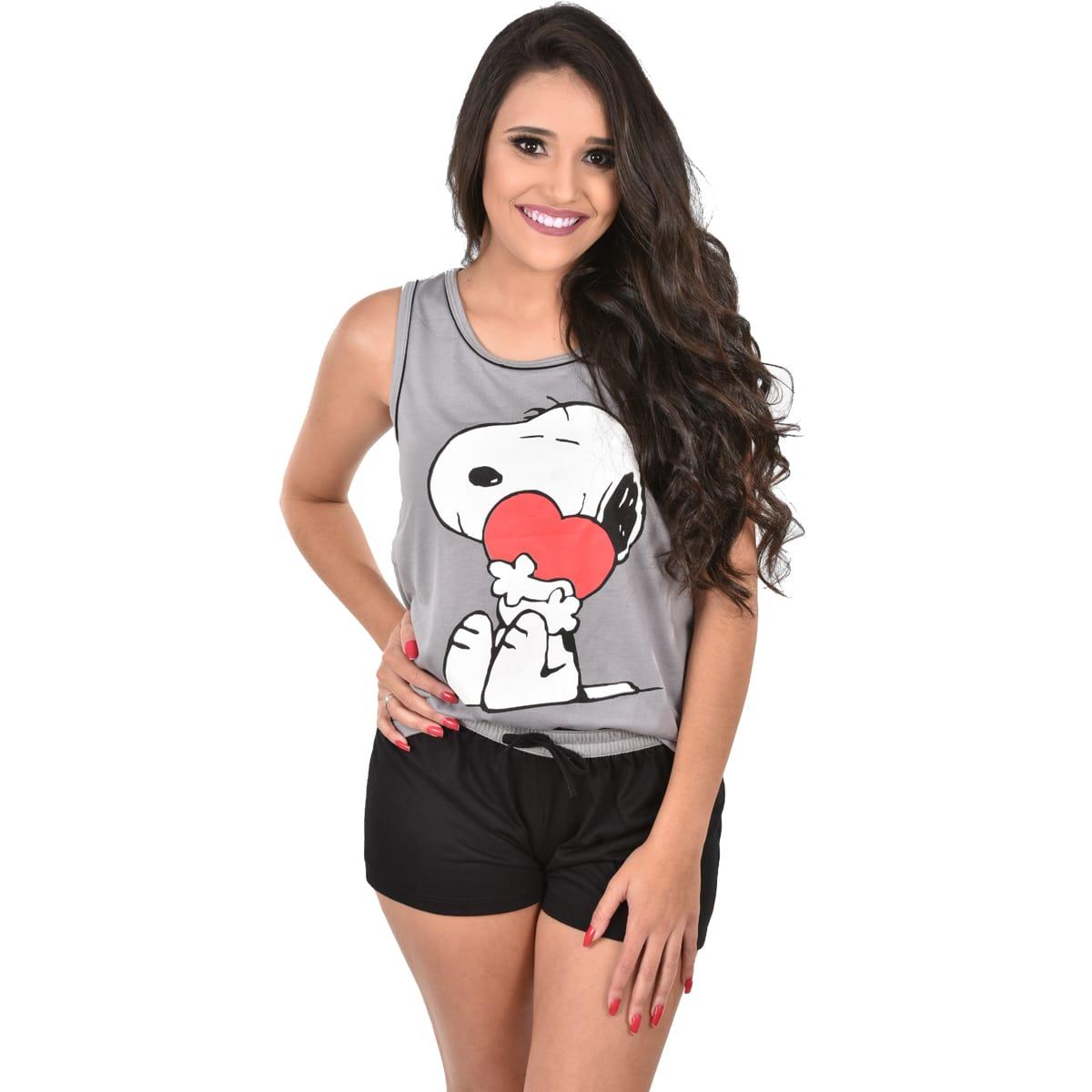 Baby Doll Regata Short Snoopy Família Feminino Adulto 328